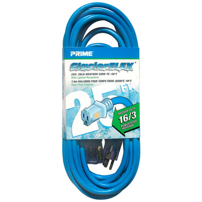 Cold Weather Outdoor Power Extension Cord, SJTW 16 AWG * 3C / 13 Amp, UL / CSA, Blue, 25 ft - Part Number: 10W1-70525-16