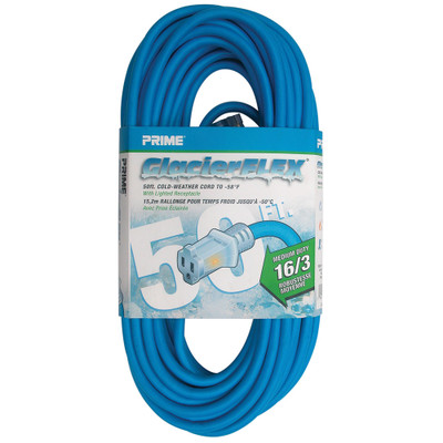 Cold Weather Outdoor Power Extension Cord, SJTW 16 AWG * 3C / 13 Amp, UL / CSA, Blue, 50 ft - Part Number: 10W2-70650