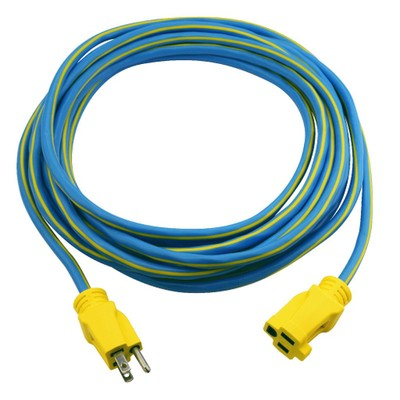Outdoor Power Extension Cord, SJTW 14 AWG * 3C / 15 Amp, ETL Certified,  25 ft, Blue - Part Number: 10W3-66125