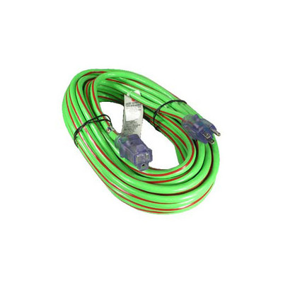 Indoor / Outdoor Power Extension Cord, SJTW 12 AWG * 3C / 15 Amp, ETL, Green w/red stripe, 50 ft, UL - Part Number: 10W4-60550