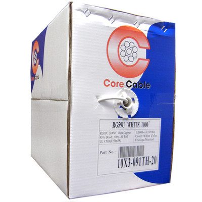 Plenum Bulk RG59 Coaxial Cable, White, CMP, 20 AWG, Pullbox, 1000 foot - Part Number: 11X3-091TH-20