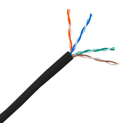Bulk Cat5e Black Ethernet Cable, Stranded, UTP (Unshielded Twisted Pair), Pullbox, 1000 foot - Part Number: 10X6-022SH