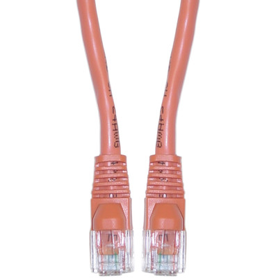 Cat5e Orange Ethernet Crossover Cable, Snagless/Molded Boot, 1 foot - Part Number: 10X6-33301