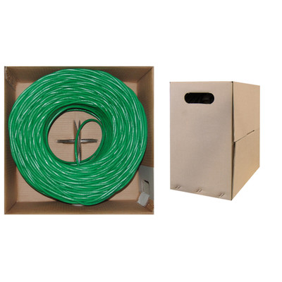 Bulk Cat5e Green Ethernet Cable, Solid, UTP (Unshielded Twisted Pair), Pullbox, 1000 foot (Case of 2) - Part Number: KIT-10X6-051TH