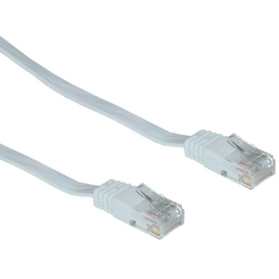 Cat5e White Flat Ethernet Patch Cable, 32 AWG, 14 foot - Part Number: 10X6-69114