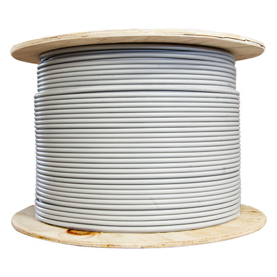 Bulk Shielded Cat6 Gray Ethernet Cable, Solid, Spool, 1000 foot - Part Number: 10X8-521NH
