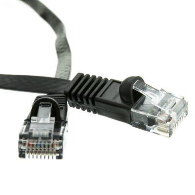 Cat6 Black Flat Ethernet Patch Cable, 32 AWG, 1 foot - Part Number: 10X8-62201