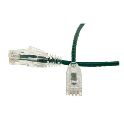Cat6 Green Slim Ethernet Patch Cable, Snagless/Molded Boot, 1 foot - Part Number: 10X8-85101