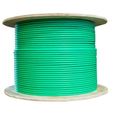 Plenum Cat6 Bulk Cable, Green, Solid, Shielded, CMP, 23 AWG, Spool, 1000 foot - Part Number: 11X8-551NH