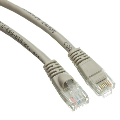 Cat6a Gray Ethernet Patch Cable, Snagless/Molded Boot, 500 MHz, 15 foot - Part Number: 13X6-02115