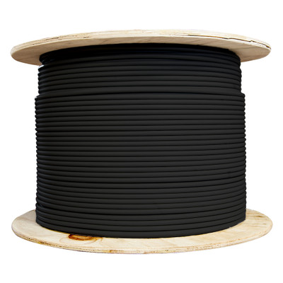 Bulk Cat6a Black Ethernet Cable, Stranded, UTP (Unshielded Twisted Pair), Spool, 1000 foot - Part Number: 13X6-022MH