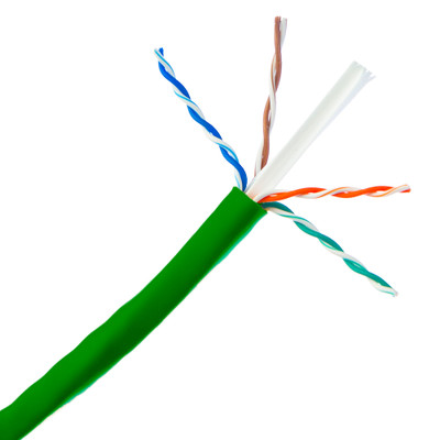 Bulk Cat6a Green Ethernet Cable, 10 gig Solid, UTP (Unshielded Twisted Pair), 500Mhz, 23 AWG, Spool, 1000 foot - Part Number: 13X6-051NH