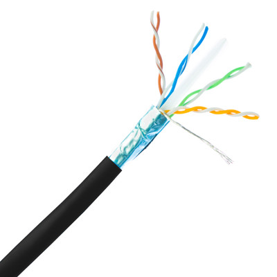Bulk Shielded Cat6a Black Ethernet Cable, 10 Gigabit, Solid, 500 Mhz, 23 AWG, Spool, 1000 foot - Part Number: 13X6-522NH