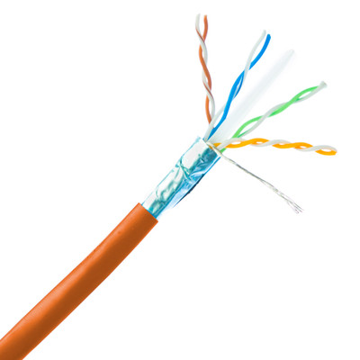 Bulk Shielded Cat6a Orange Ethernet Cable, 10 gig Solid, 500 Mhz, 23 AWG, Spool, 1000 foot - Part Number: 13X6-531NH