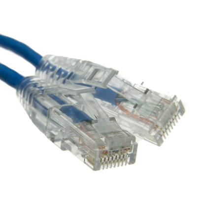 Cat6a Blue Slim Ethernet Patch Cable, Snagless/Molded Boot, 15 foot - Part Number: 13X6-66115