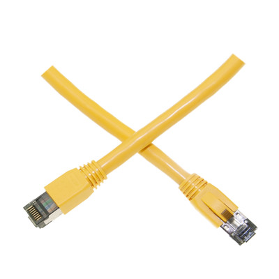 Cat8 Yellow S/FTP Ethernet Patch Cable, Molded Boot, 40Gbps - 2000MHz, 4-Pair 24AWG Stranded Pure Copper, RJ45 Male, 7 foot - Part Number: 13X8-58107