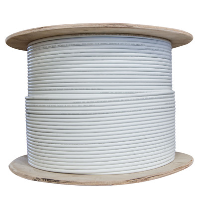Plenum Shielded Cat6a Bulk White Ethernet Cable, Solid, CMP,    500 Mhz, 23 AWG, Spool, 1000 foot - Part Number: 14X6-591NH
