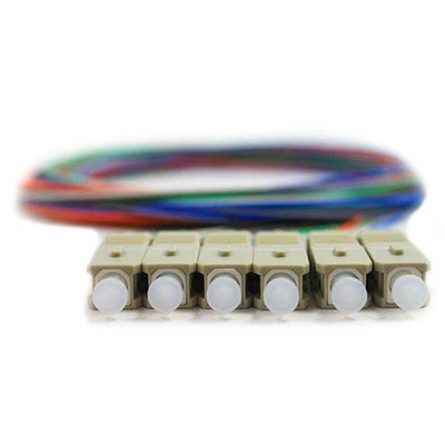 6 Strand Fiber Pigtail, OM1 - 62.5/125, Multmode Beige Boot SC/PC connectors, 3 meter - Part Number: 15F1-10006