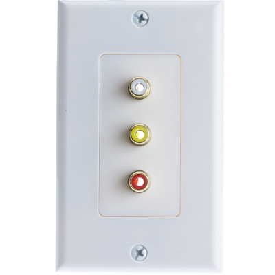 Wall Plate, White, 3 Gold Plated RCA Female to Solder Type (Red, White and Yellow) - Part Number: 200-260WH