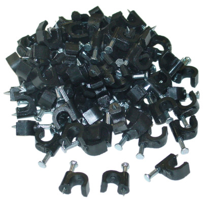RG6 Cable Clip, Black (100 pieces per bag) - Part Number: 200-960