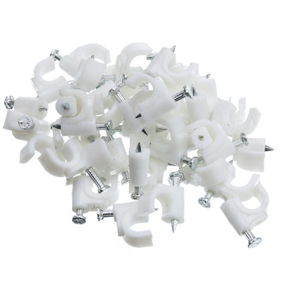 RG6 Cable Clip, White (100 pieces per bag) - Part Number: 200-961