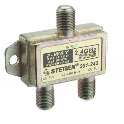 F-Pin Coaxial Splitter, 2-Way, 2 GHz 90 dB, DC Passing on Both Ports - Part Number: 201-242