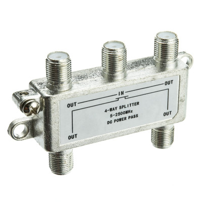 F-pin Coaxial Splitter, 4 way, 2 GHz 90 dB, DC Passing on All Ports - Part Number: 201-244