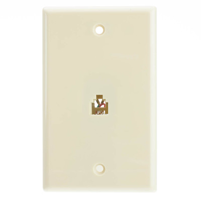 2 Line Telephone Wall Plate, Beige/Ivory, RJ11, 4 Conductor - Part Number: 300-204IV