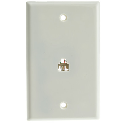 2 Line Telephone Wall Plate, White, RJ11, 4 Conductor - Part Number: 300-204WH
