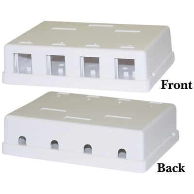 Blank Surface Mount Box for Keystones, 4 Port, White - Part Number: 300-3144E