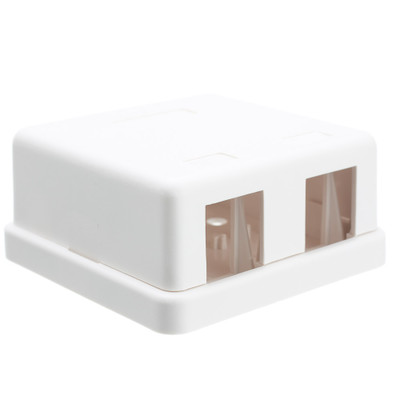 Blank Surface Mount Box for Keystones, 2 Port, White - Part Number: 300-314DE