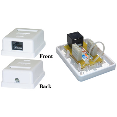 Cat6 Single Jack Surface Mount Box, Female, Unshielded, White - Part Number: 300-613SE