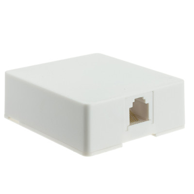 Phone Surface Mount Jack, White, RJ11 / RJ12, Data / Voice, 6P6C (6 Pin 6 Conductor) - Part Number: 300-66FF-WH