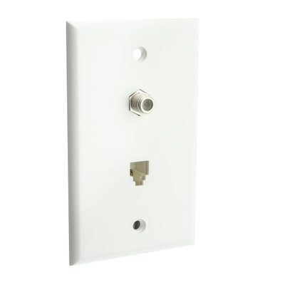 Satellite Wall Plate, White, F-pin Connector and Telephone Jack - Part Number: 301-02100