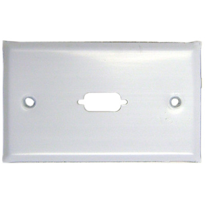 Wall Plate, White, 1 Port fits DB9 or HD15 (VGA), Painted Stainless Steel - Part Number: 301-1-9