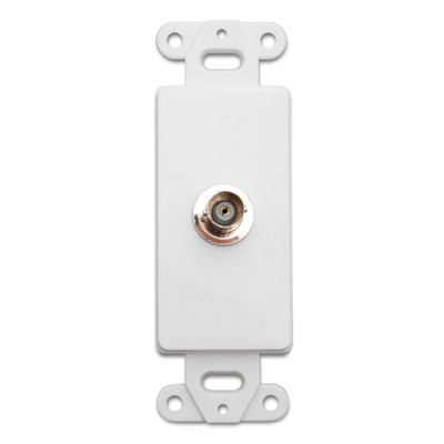 Decora Wall Plate Insert, White, BNC Coupler, BNC Female - Part Number: 301-1002