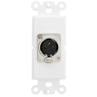Decora Wall Plate Insert, White, XLR Female to Solder Type - Part Number: 301-1003