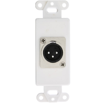 Decora Wall Plate Insert, White, XLR Male to Solder Type - Part Number: 301-1004