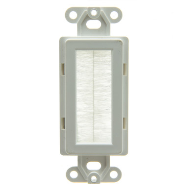 Decora Wall Plate Insert, White, Brush Cable Pass Through - Part Number: 301-1009