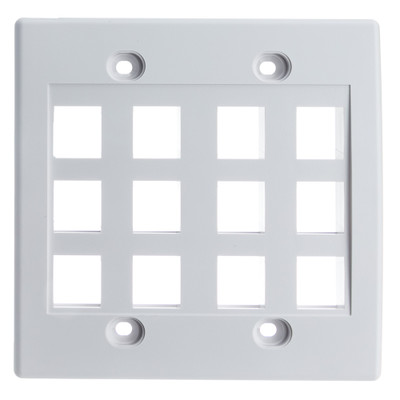 Keystone Wall Plate, White, 12 Port, Dual Gang - Part Number: 301-12K-W