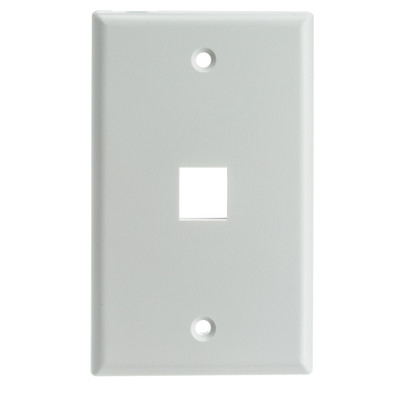 Keystone Wall Plate, White, 1 Port, Single Gang - Part Number: 301-1K-W