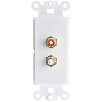 Decora Wall Plate Insert, White, RCA Stereo Couplers (Red/White), 2 RCA Female - Part Number: 301-2002