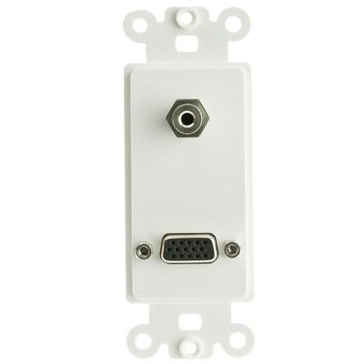Decora Wall Plate Insert, White, VGA (HD15) Coupler and 3.5mm Stereo Coupler, HD15 Female and 3.5mm Stereo Female - Part Number: 301-2100