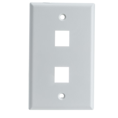 Keystone Wall Plate, White, 2 Port, Single Gang - Part Number: 301-2K-W