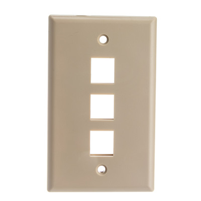 Keystone Wall Plate, Beige, 3 Port, Single Gang - Part Number: 301-3K