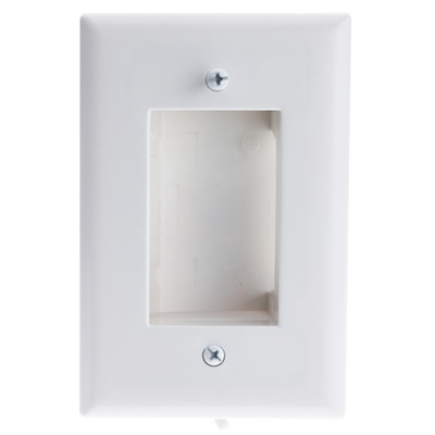 Wall Plate, White, Recessed for Easy Pass Through of Low Voltage Cable, Slim Fit - Part Number: 301-490WH