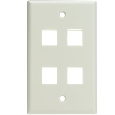 Keystone Wall Plate, White, 4 Port, Single Gang - Part Number: 301-4K-W