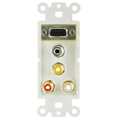 Decora Wall Plate Insert, White, with 1 VGA, 3.5mm Stereo and 3 RCA (Red/White/Yellow) Female Couplers - Part Number: 301-5000