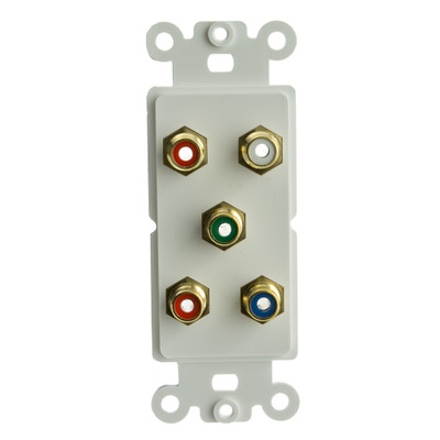 Decora Wall Plate Insert, White, 5 RCA Couplers (Component Red, Green, Blue (Y/Pr/Pb) + Red/White), RCA Female - Part Number: 301-5001