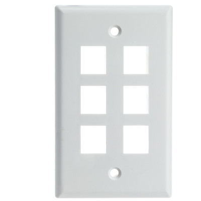 Keystone Wall Plate, White, 6 Port, Single Gang - Part Number: 301-6K-W